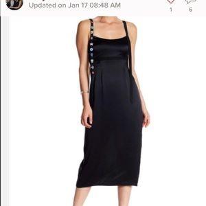 Cinq à Sept Shea black midi 100% silk dress.